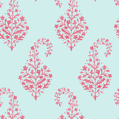Painted Paisley in_Coral_on Aqua fabric by danikaherrick on Spoonflower - custom fabric