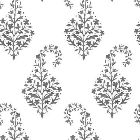 Painted_Paisley_in Charcoal fabric by danikaherrick on Spoonflower - custom fabric