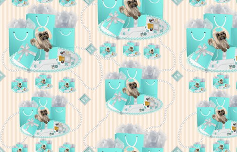 Shih Tzu Pearls & Stripes fabric by sherry-savannah on Spoonflower - custom fabric