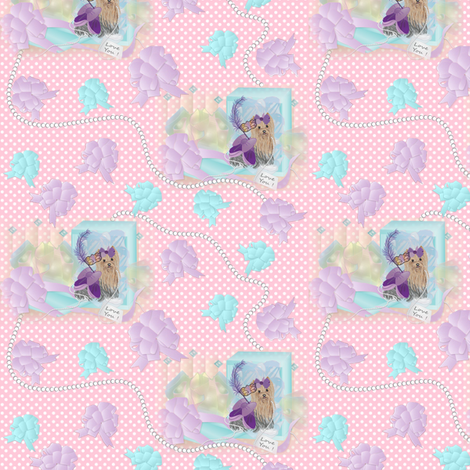 Yorkie Pearls & Bows in Pink fabric by sherry-savannah on Spoonflower - custom fabric