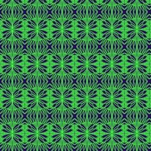 Butterfly Crochet Lace Green Navy