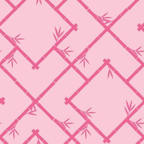 Bamboo Chinoiserie Lattice in Light Pink + Bubblegum Pink