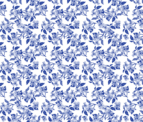 China Blue Dogwood Blossoms fabric by bags29 on Spoonflower - custom fabric
