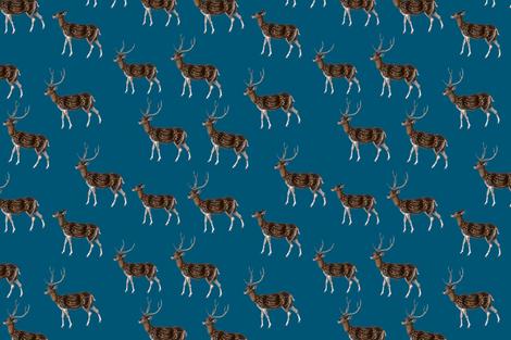 Deer Park HERD, Vintage on Petrol Blue fabric by thistleandfox on Spoonflower - custom fabric