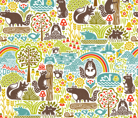 Woodland Woodchucks fabric by christinewitte on Spoonflower - custom fabric