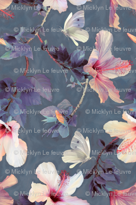 Butterflies and Hibiscus Flowers - a painted pattern