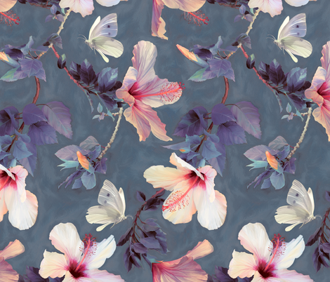 Butterflies and Hibiscus Flowers - a painted pattern - large print fabric by micklyn on Spoonflower - custom fabric