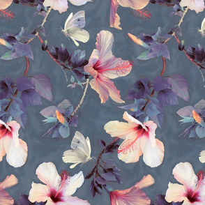Butterflies and Hibiscus Flowers - a painted pattern - large print