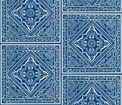 Chinese Indigo Tiles ~ Bian  fabric by peacoquettedesigns on Spoonflower - custom fabric