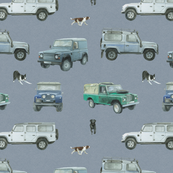 Land Rover defender inspired cars and working dogs