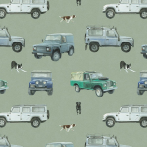 Land Rover  Defender inspired and dogs