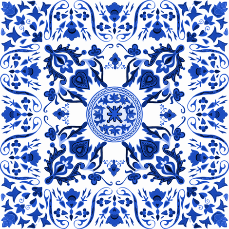 Sweet Ramona ~ Folk Art Tile ~ Provence Blue and White fabric by peacoquettedesigns on Spoonflower - custom fabric