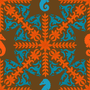 The Coral Sea ~ Seahorse Damask ~ Coral and Caledonian Blue on Sidonie