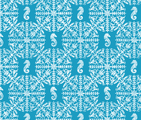 The Coral Sea ~ Seahorse Damask ~ Chalk on Caledonian Blue  fabric by peacoquettedesigns on Spoonflower - custom fabric