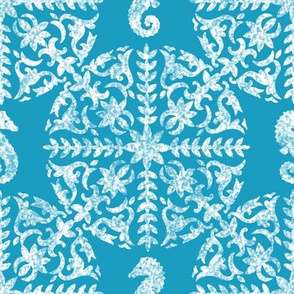 The Coral Sea ~ Seahorse Damask ~ Chalk on Caledonian Blue