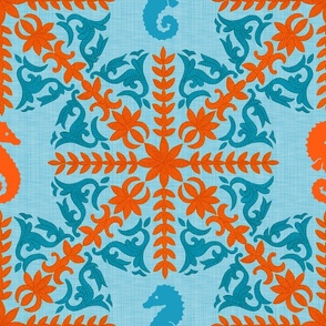 The Coral Sea ~ Seahorse Damask ~ Caledonian Blue Linen Luxe