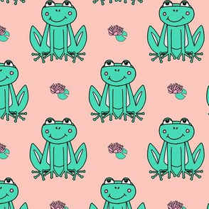 Happy Frogs - Light Jade/Pale Pink by Andrea Lauren