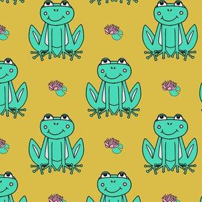 Happy Frogs - Light Jade/Mustard by Andrea Lauren