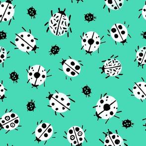 Ladybugs - Light Jade Background by Andrea Lauren