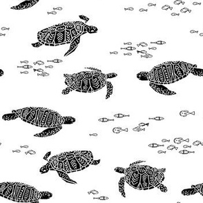 Sea Turtle - Black and White by Andrea Lauren