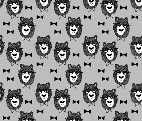 Bowtie Bear - Slate Grey by Andrea Lauren fabric by andrea_lauren on Spoonflower - custom fabric