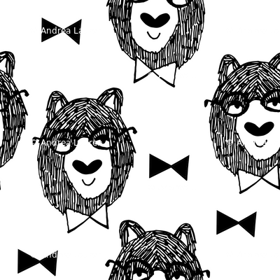 bowtie bear // black and white bear fabric andrea lauren design bears nursery baby fabric