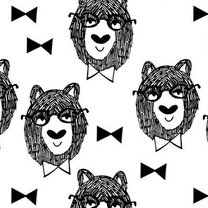bowtie bear // black and white bear fabric andrea lauren design bears nursery baby fabric