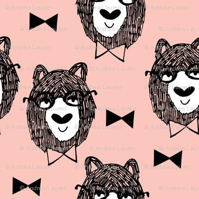 bowtie bear // pink bear fabric bowtie bears fabric bear nursery pink fabric andrea lauren