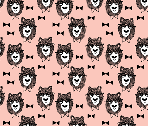 bowtie bear // pink bear fabric bowtie bears fabric bear nursery pink fabric andrea lauren fabric by andrea_lauren on Spoonflower - custom fabric
