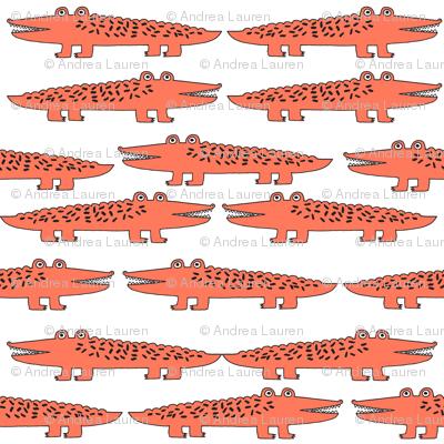 alligator // orange alligator fabric cute alligators design best alligators fabric crocodiles tropical zoo animals