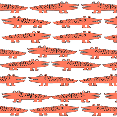 alligator // orange alligator fabric cute alligators design best alligators fabric crocodiles tropical zoo animals fabric by andrea_lauren on Spoonflower - custom fabric