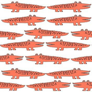 alligator // orange alligator fabric cute alligators design best alligators fabric crocodiles tropical zoo animals