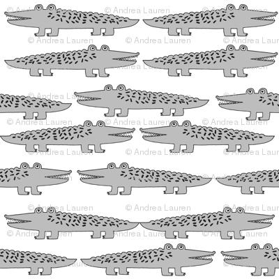 alligators // alligator grey gator fabric cute reptiles boys room fabric grey nursery baby cute gator