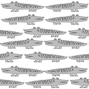 alligators // alligator grey gator fabric cute reptiles boys room fabric grey nursery baby cute gator