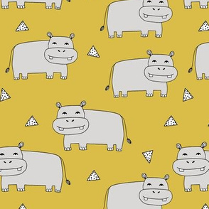 Happy Hippo - Light Grey/Mustard by Andrea Lauren