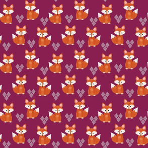 Watercolor Foxes Purplish