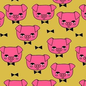 Mr. Pig - Bright pink/Mustard by Andrea Lauren
