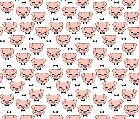 Mr. Pig - Pale Pink/White by Andrea Lauren fabric by andrea_lauren on Spoonflower - custom fabric