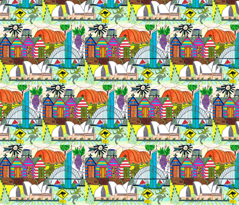 Postcard_from_Australia Small fabric by inniv8z_oz on Spoonflower - custom fabric