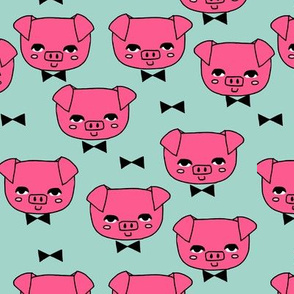 Mr. Pig - Bright Pink/Pale Turquoise by Andrea Lauren