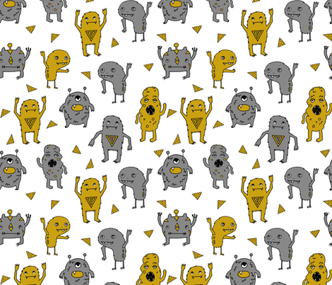 monster // monsters grey and mustard yellow kids boys creepy scary monster boys room fabric fabric by andrea_lauren on Spoonflower - custom fabric