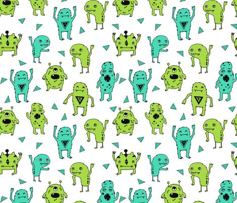 Monsters monster green kids boys room scary monster for Fabric for boys room