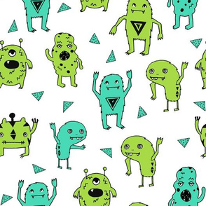 monsters // monster green kids boys room scary monster fabric