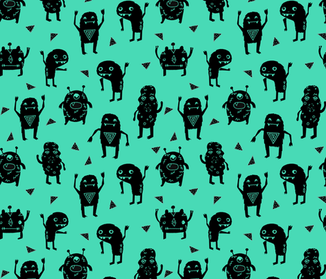 monsters // green black kids funny cute quirky boys room monster fabric fabric by andrea_lauren on Spoonflower - custom fabric
