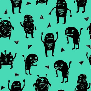 monsters // green black kids funny cute quirky boys room monster fabric