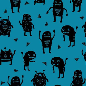 monsters // creepy kids fabric for boys room little kids monster scary quirky cute