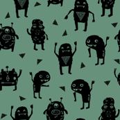 monsters // green kids boys monster fabric