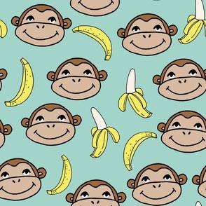 Happy Monkey - Pale Turquoise by Andrea Lauren
