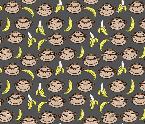 Happy Monkey - Charcoal by Andrea Lauren fabric by andrea_lauren on Spoonflower - custom fabric
