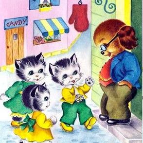vintage retro kitsch cats kittens children dogs cocker spaniel Cavalier towns candy candies shops